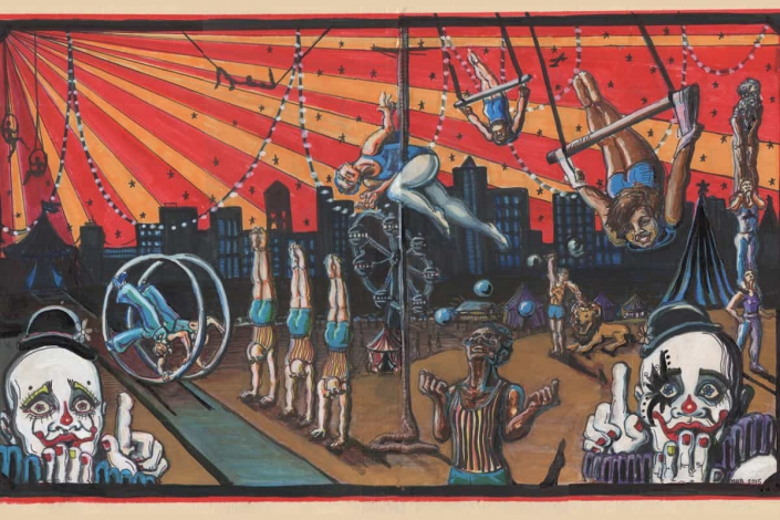 a painting of a traditional circus show